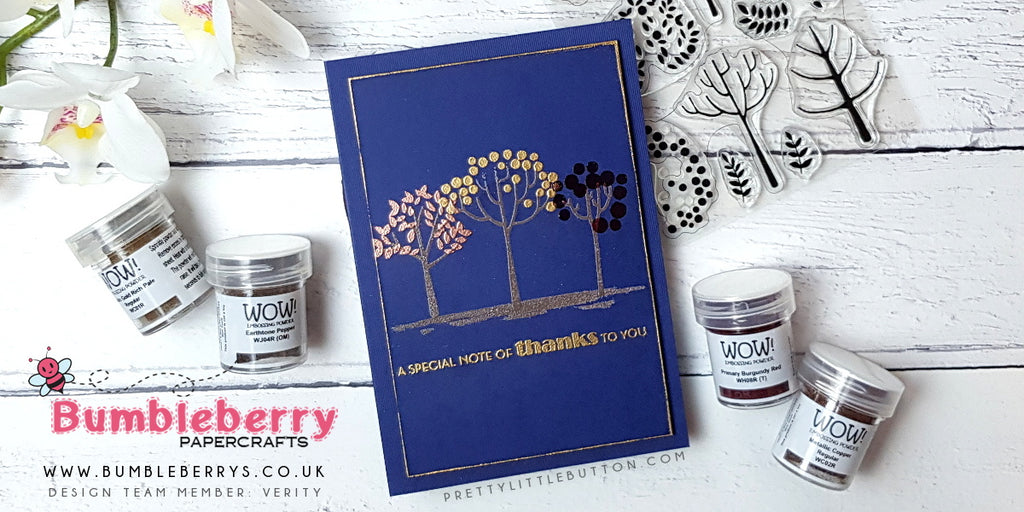 Coloured stamping with embossing powders - MFT Modern Trees