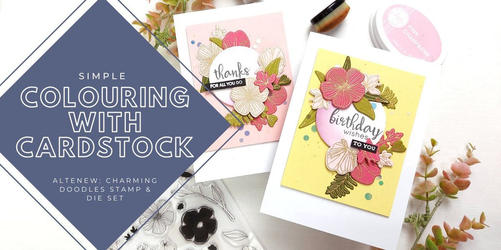 Simple colouring with cardstock - Altenew Charming Doodles stamp & die set
