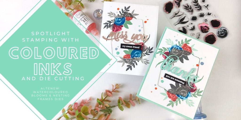 Spotlight stamping with coloured inks and die cutting: Altenew Watercolored Blooms