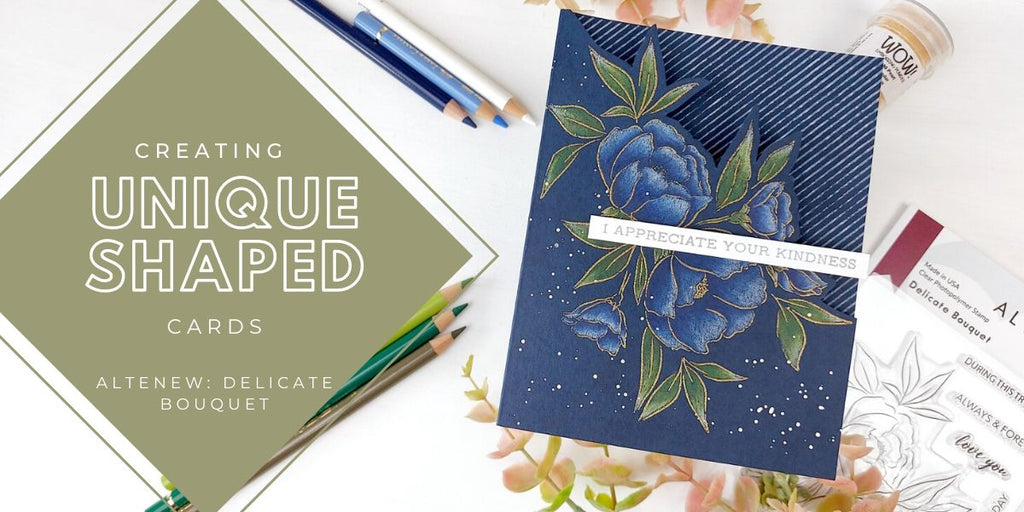 Creating unique shaped cards with Altenew Delicate Bouquet stamp