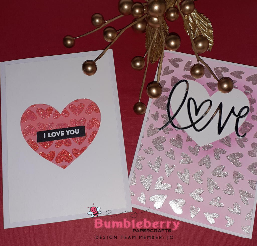 Two for One and Double Stencilling,  using the Heart Extraordinaire Stencil by My Favorite Things (Valentines Post)