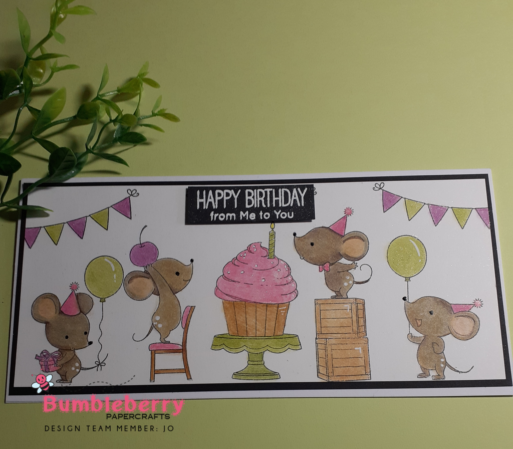 "Creating A Slimline Scene Card, With My Favorite Things"" Mice Day To Celebrate."" (Birdie Brown)"