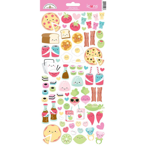 Doodlebug Cardstock Stickers - Punny Food