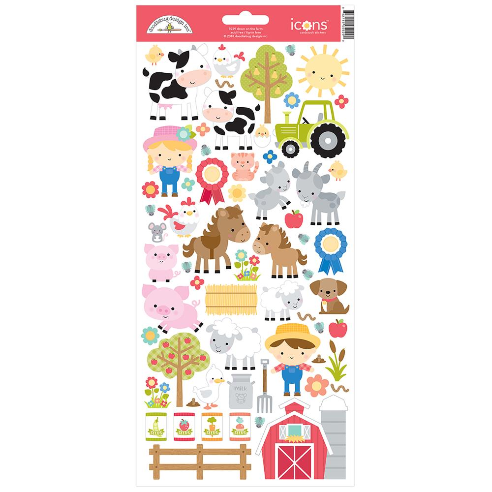 Doodlebug Icon Cardstock Stickers - Down On The Farm