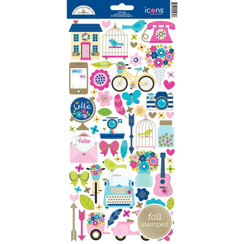Doodlebug Icon Cardstock Stickers - Hello