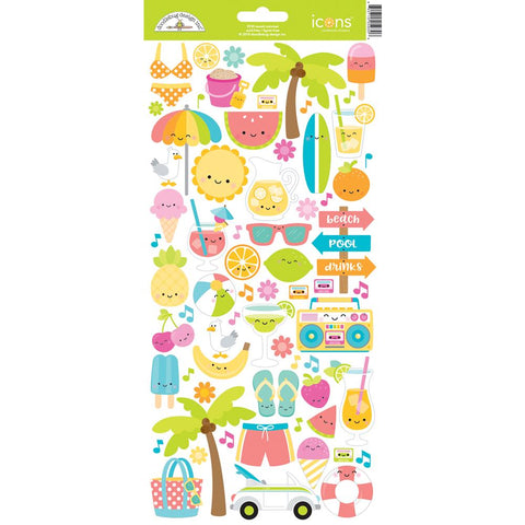 Doodlebug Icon Cardstock Stickers - Sweet