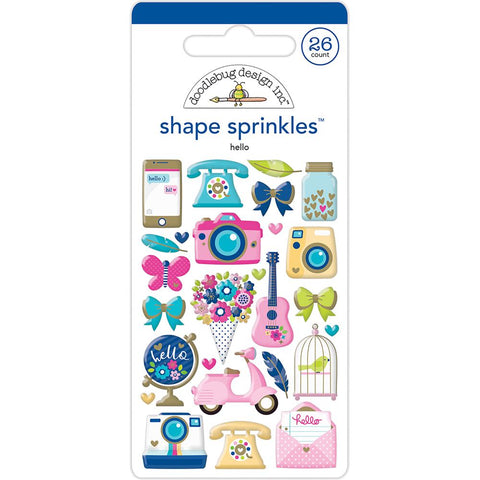 Doodlebug Sprinkles Shape Stickers - Hello