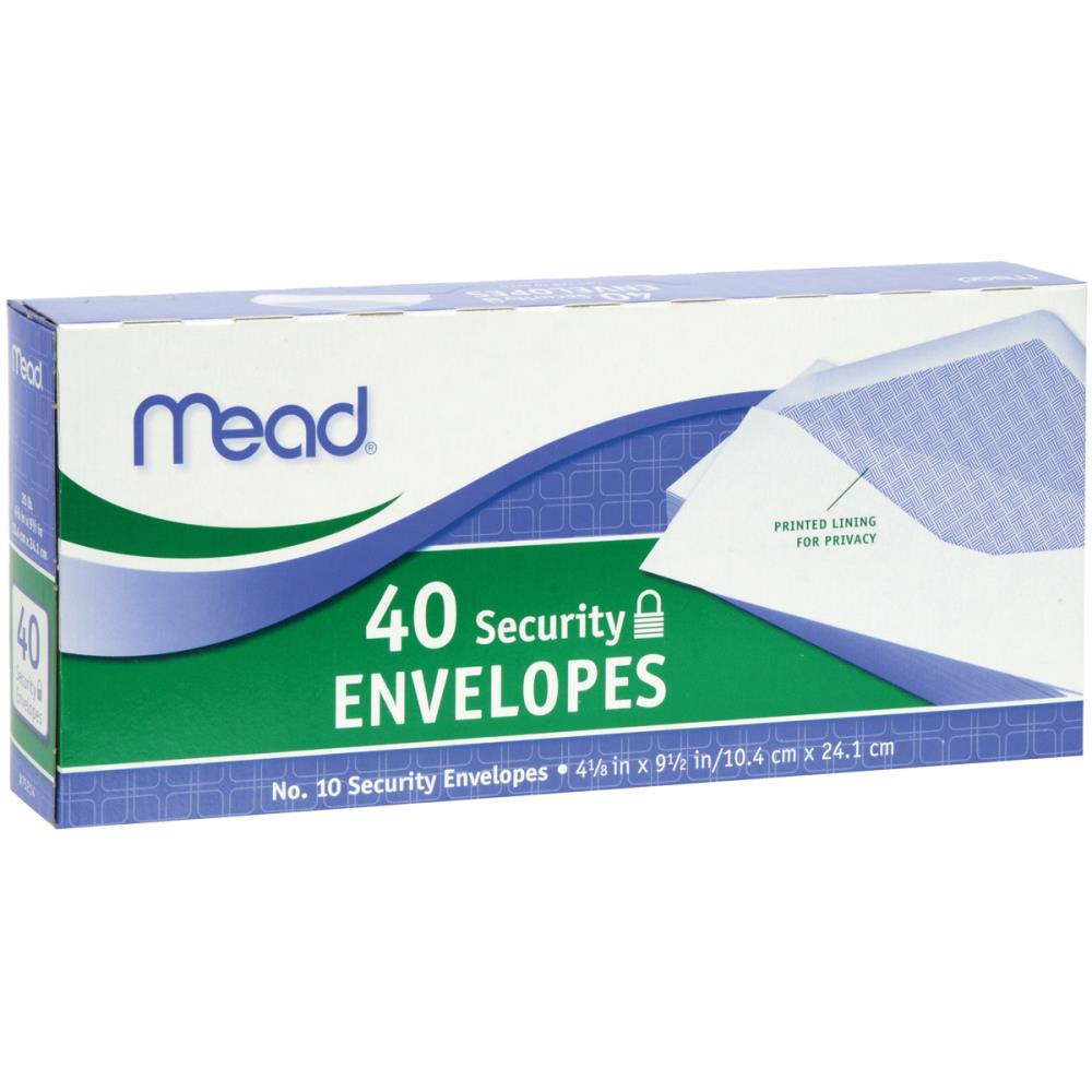 Mead Boxed Security Envelopes #10 40pk
