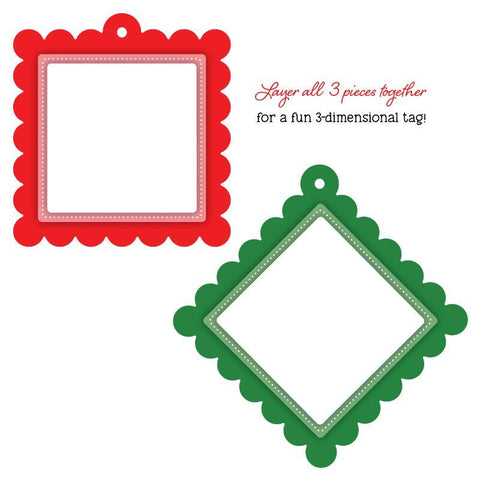 Scallop Square Gift Tag Honey Cuts