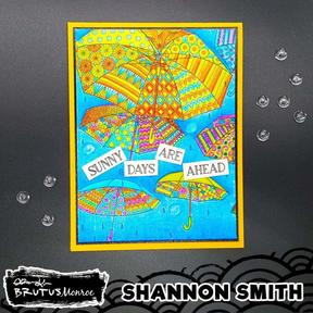 Abstract Umbrellas Stamp Set