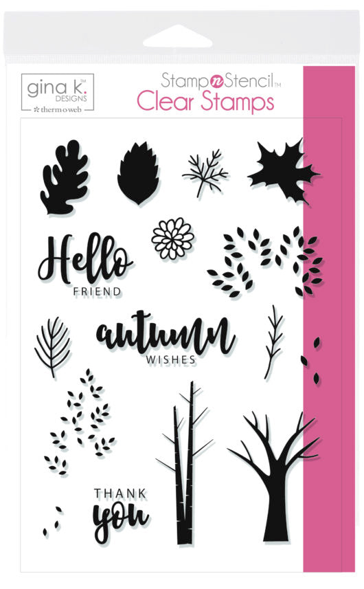 GKD Stamp & Stencil Autumn Wishes Stamp Set