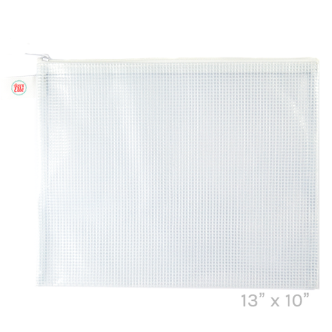 White Large Zipped Vinyl Pouch