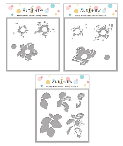Beauty Within Simple Coloring Stencil Set (3 stencils in 1)