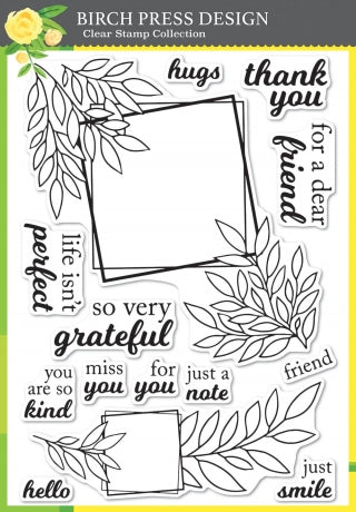 Grateful Leaf Frames Clear Stamp Set