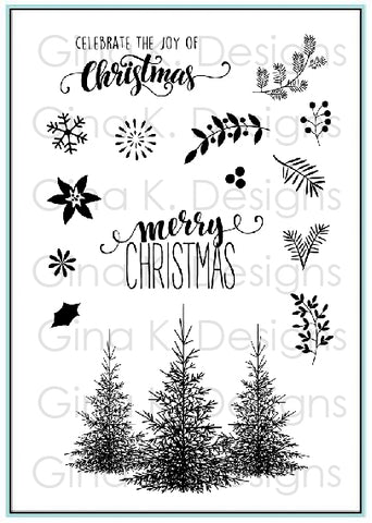 Clear Mini Stamps Christmas Greenery