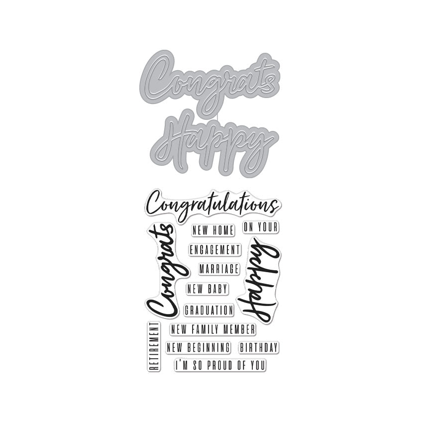 Congrats Happy Stamp & Cut