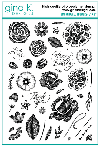 Clear Stamps Embroidered Flowers Stamp Set