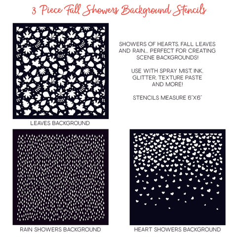 Fall Showers Stencils Set of 3
