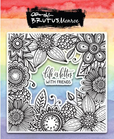 Flower Doodle 6x6 Background Stamp