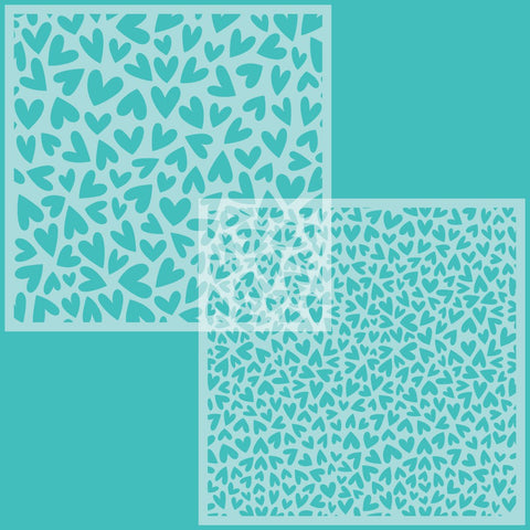 Fluttering Hearts Background Stencils Set of 2