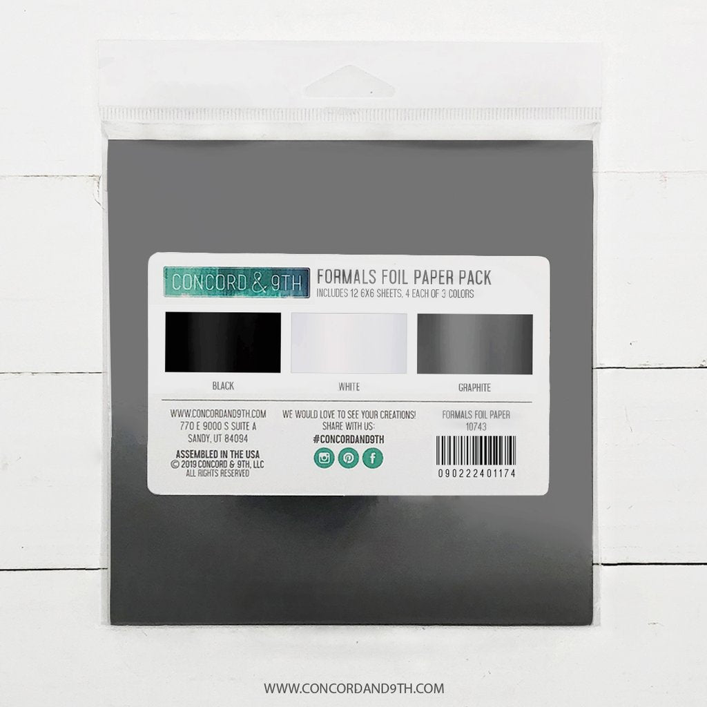 Formals Foil Paper Pack: Black, Graphite, White