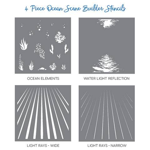 Ocean Scene Builder Stencils Set of 4