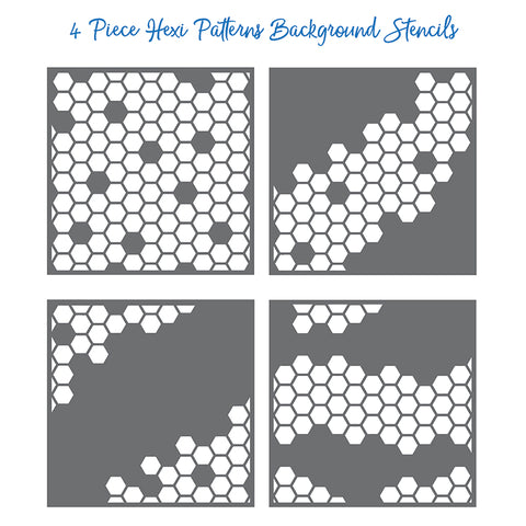 Hexi Patterns Background Stencils Set of 4
