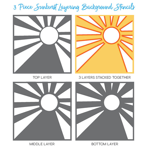 Sunburst Layering Background Stencils Set of 3