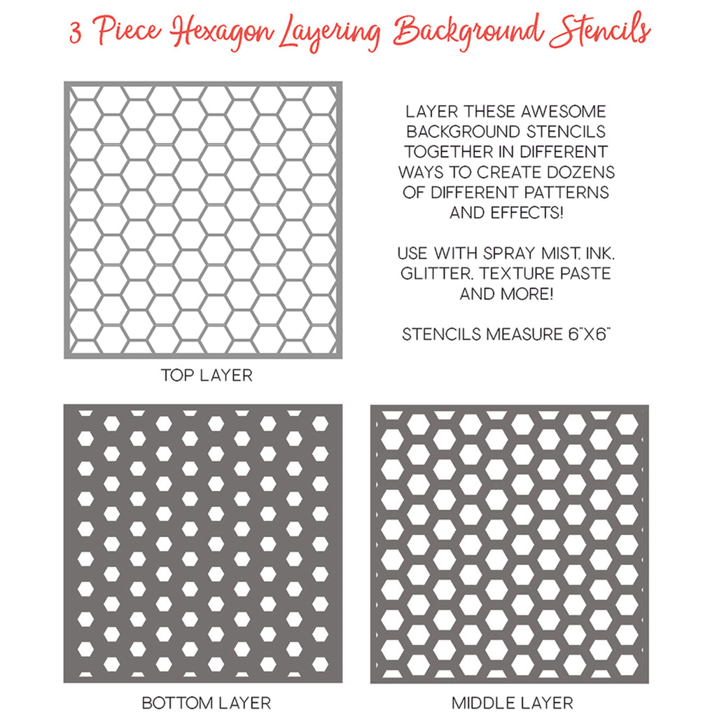 Hexagon Layering Background Stencils Set of 3