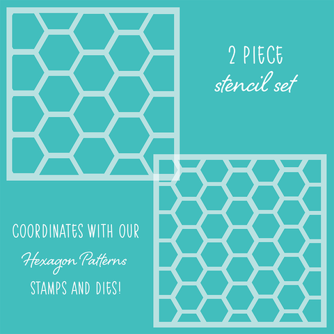 Hexagon Patterns Set of 2 Stencils