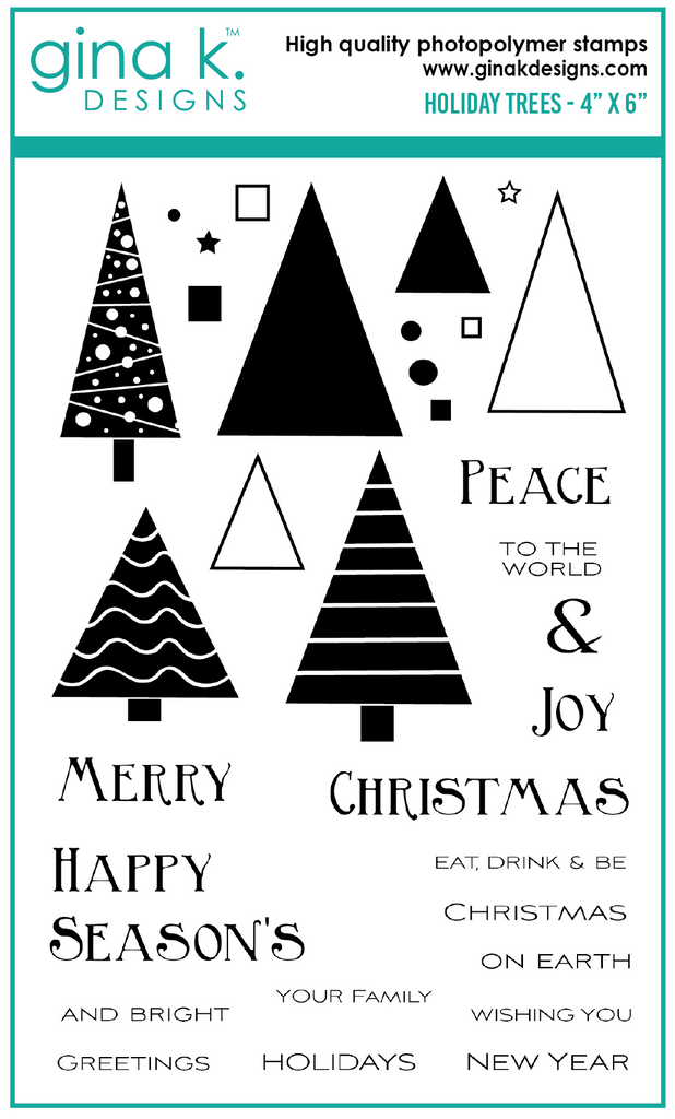 Clear Mini Stamps Holiday Trees Stamp Set