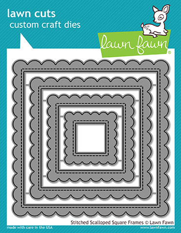 Stitched Scalloped Square Frames Lawn Cuts