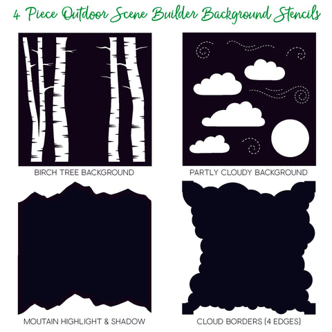 Outdoor Scene Builder Stencils Set of 4