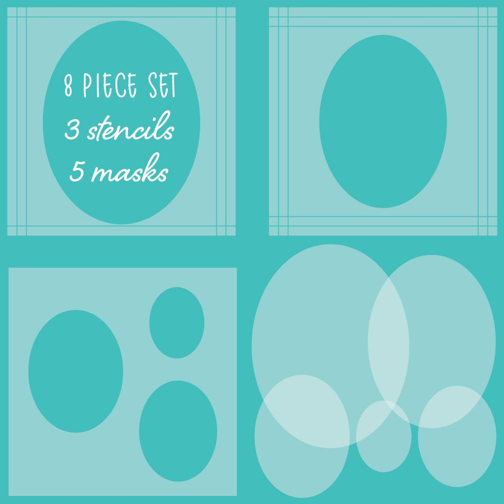 Oval Spotlight Stencils & Mask Set of 8