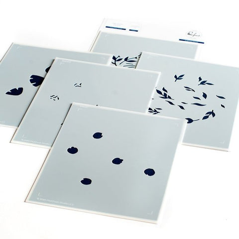 Floral Print circle layered stencil set