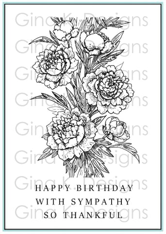 Clear Mini Stamps Peony Wishes