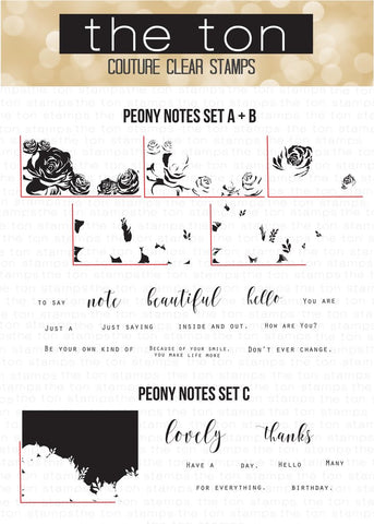 Peony Notes - Bundle Stamp A + B + C