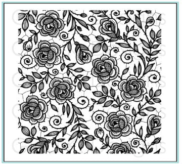 Rubber Background Stamp - Rose Lace