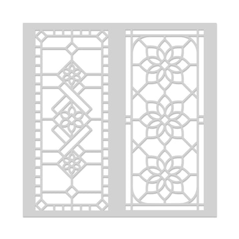 Stained Glass Window Stencil 6x6