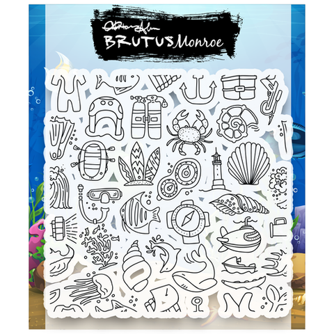 Sea Life Background Builder 4x4 Stamp