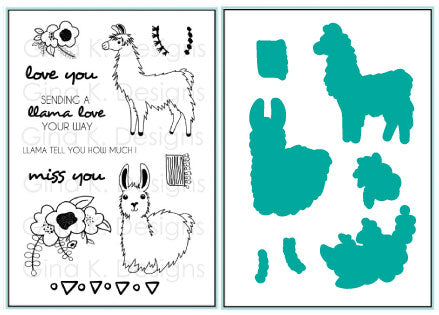 Bundle Stamps and Dies - Sending Llama Love