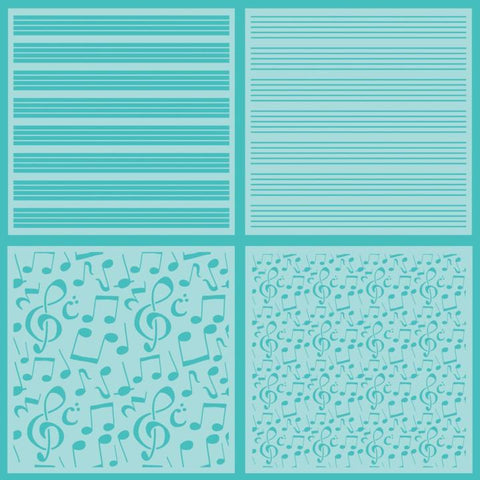 Sheet Music Set of 4 Stencils