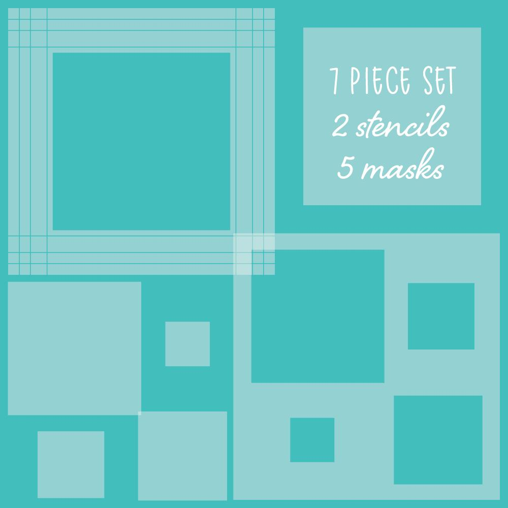 Square Spotlight Stencils & Mask Set of 7