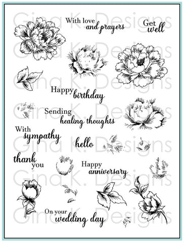 Clear Stamps Stippled Flowers