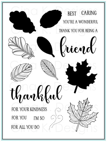 Clear Stamps Stitched Leaves