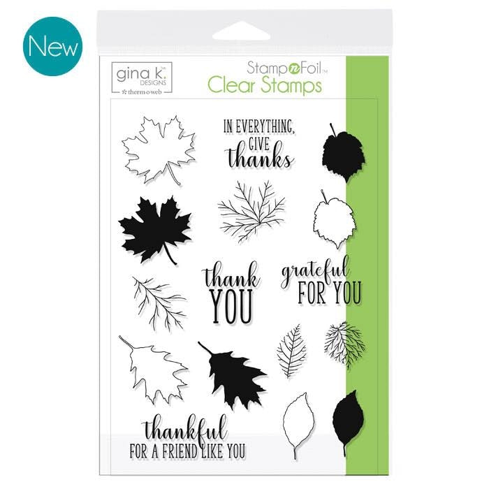GKD Stamp & Foil Thankful Leaves Stamp Set