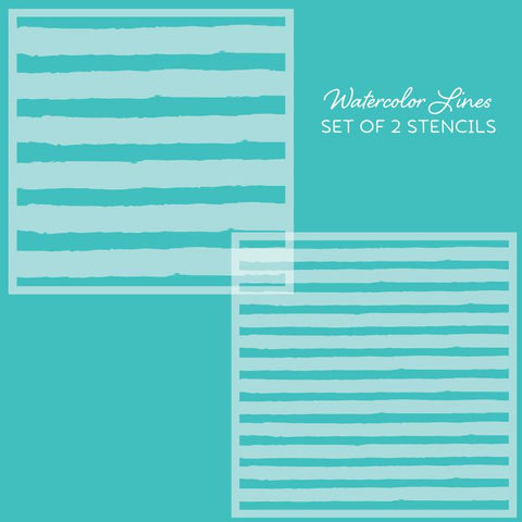 Watercolor Lines Stencils - Set of 2