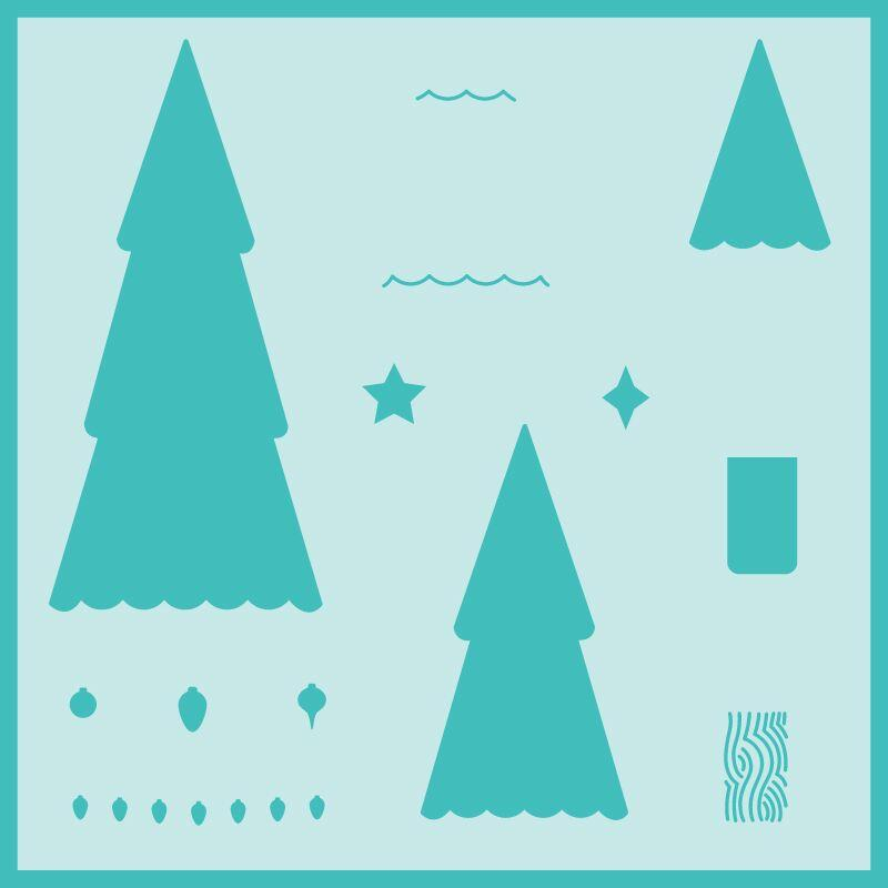 Stacking Pine Trees Background Stencil