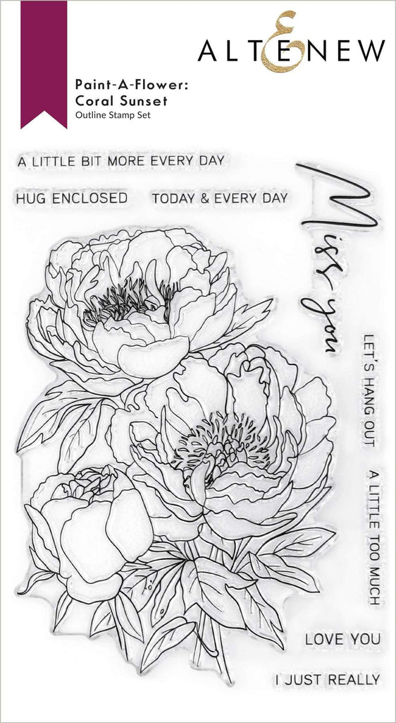 Paint-A-Flower: Coral Sunset Outline Stamp Set