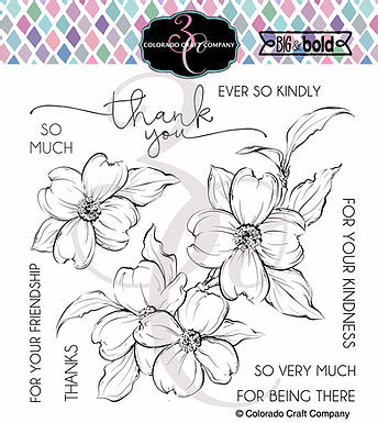 Big & Bold - Thank You Dogwood 6 x 6 Stamps